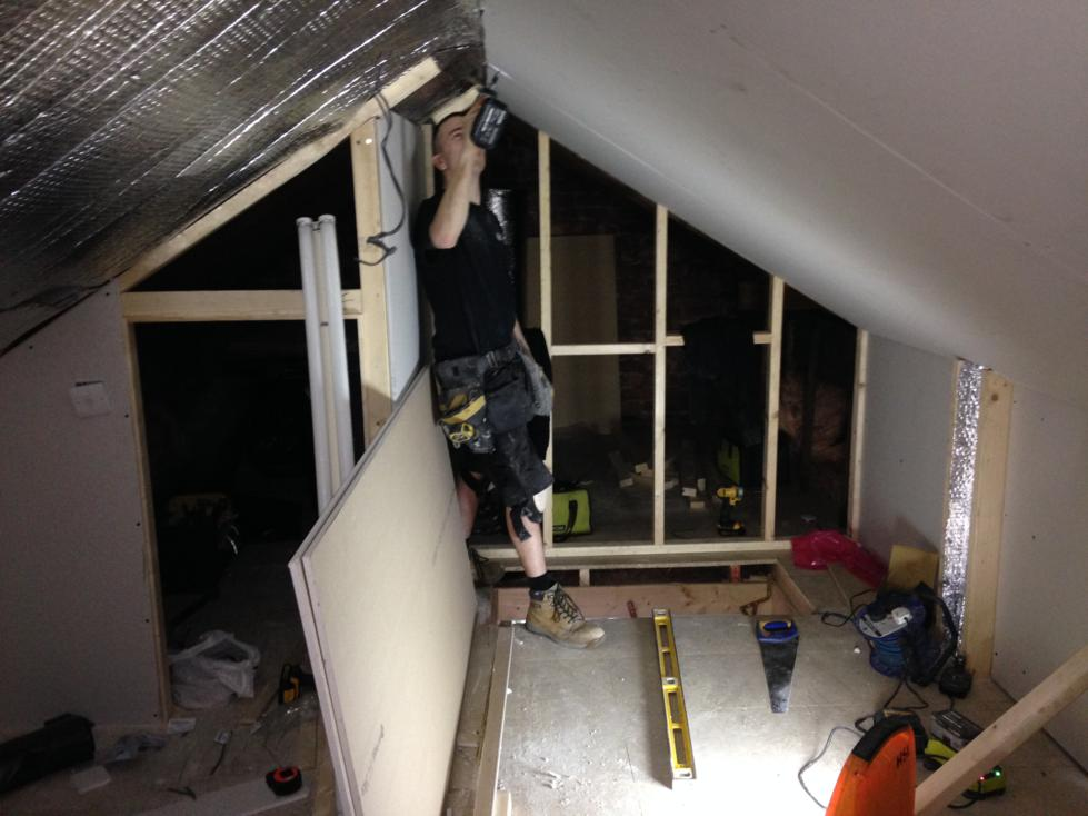 Mini Loft Conversion - Day 4 - Plasterboard, skirtings and door to storage
