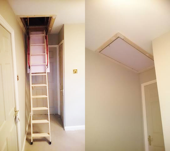 New energy efficient loft hatch with timber ladder