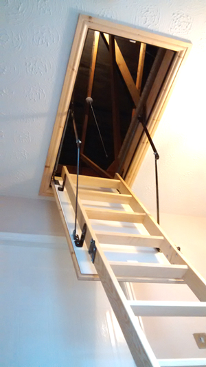 Wooden loft hatch and ladder